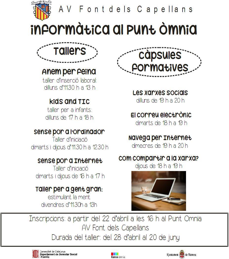 cartell càpsules i tallers 2on trimestre Punt Òmnia AV Font dels Capellans
