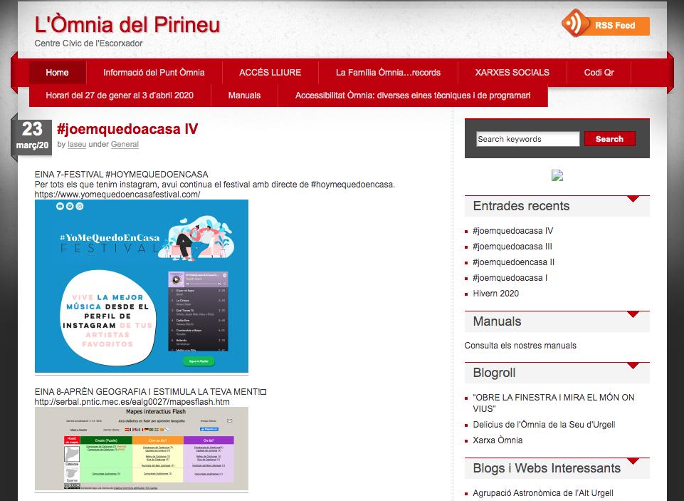 Captura de pantall del blog de l'Òmnia de la Seu d'Urgell