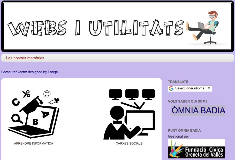 Captura de pantalla del banc de recursos Webs i utilitats