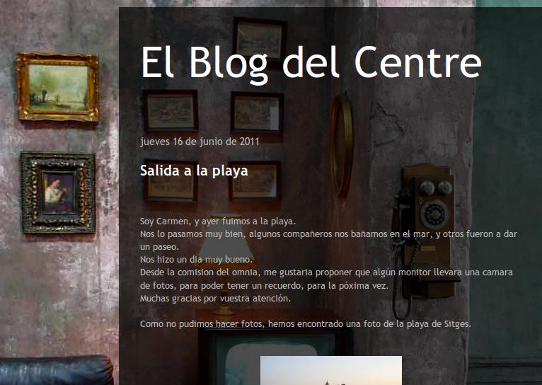 Captura de la portada del bloc del centre