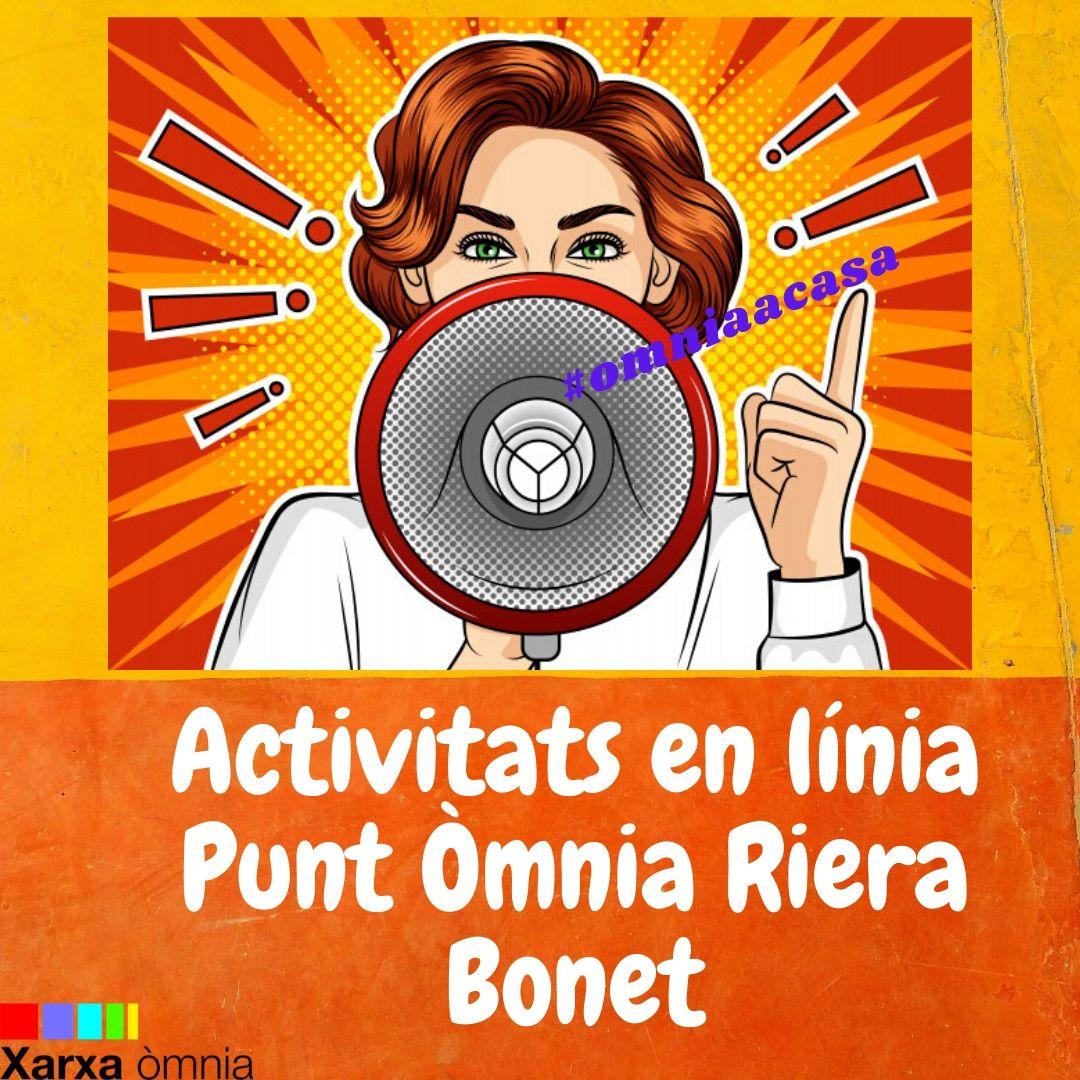 Cartell de les activitats en línia del Punt Òmnia Riera Bonet