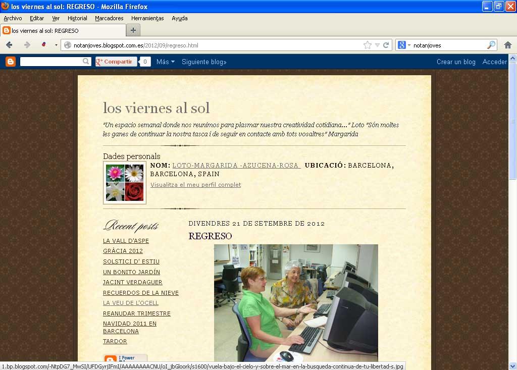 Captura de la portada del bloc