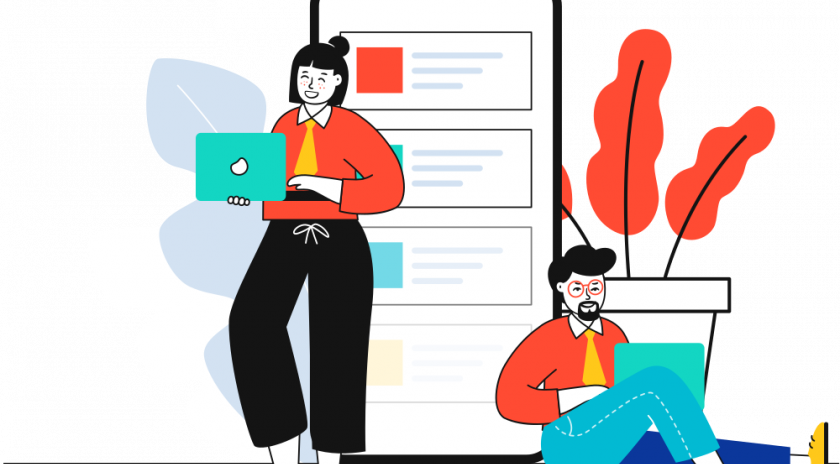 Il·lustració amb dues persones mirant pantalla d'ordinador