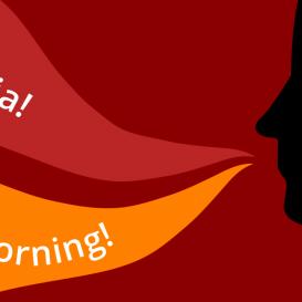 Il·lustració on es pot llegir 'Hola, bon dia!' i la seva traducció a l'anglès: 'Hello, good morning'.
