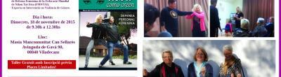 Collage amb imatges del taller de defensa.
