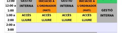 Horari de Setembre a Desembre de 2013 - Punt Òmnia Casal Cívic Salut Alta