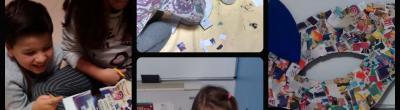 Els nens i nenes del Punt Òmnia La Seu d'Urgell durant el procés de creació de la màscara