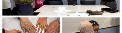 Collage per resumir la jornada entre la gent gran i els infants
