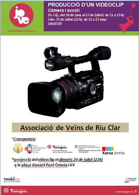 Cartell del taller de videoclip, amb una càmera i la informació pràctica